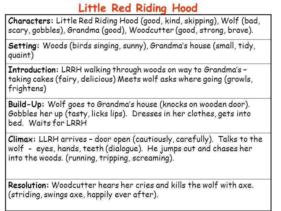 Characters: Little Red Riding Hood, Wolf, Grandma, Woodcutter Settings: Woods Grandmas House LRRH walks through woods.
