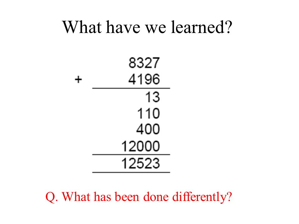 What have we learned? Q. What has been done differently?