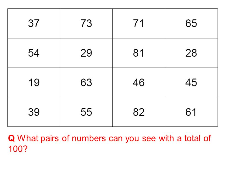Q What pairs of numbers can you see with a total of 100