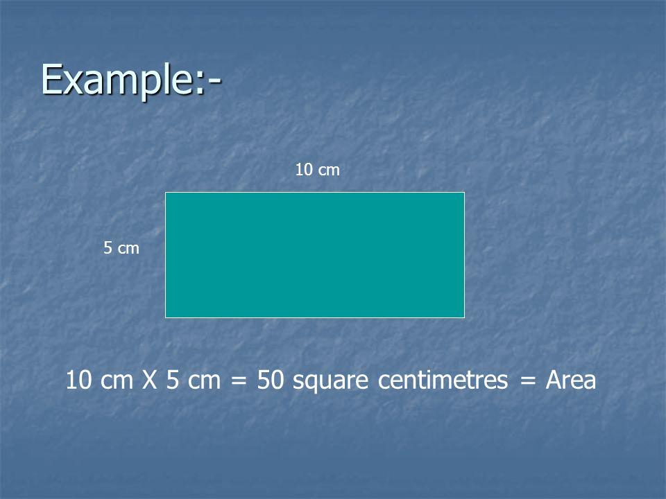 Example:- 10 cm 5 cm 10 cm X 5 cm = 50 square centimetres = Area