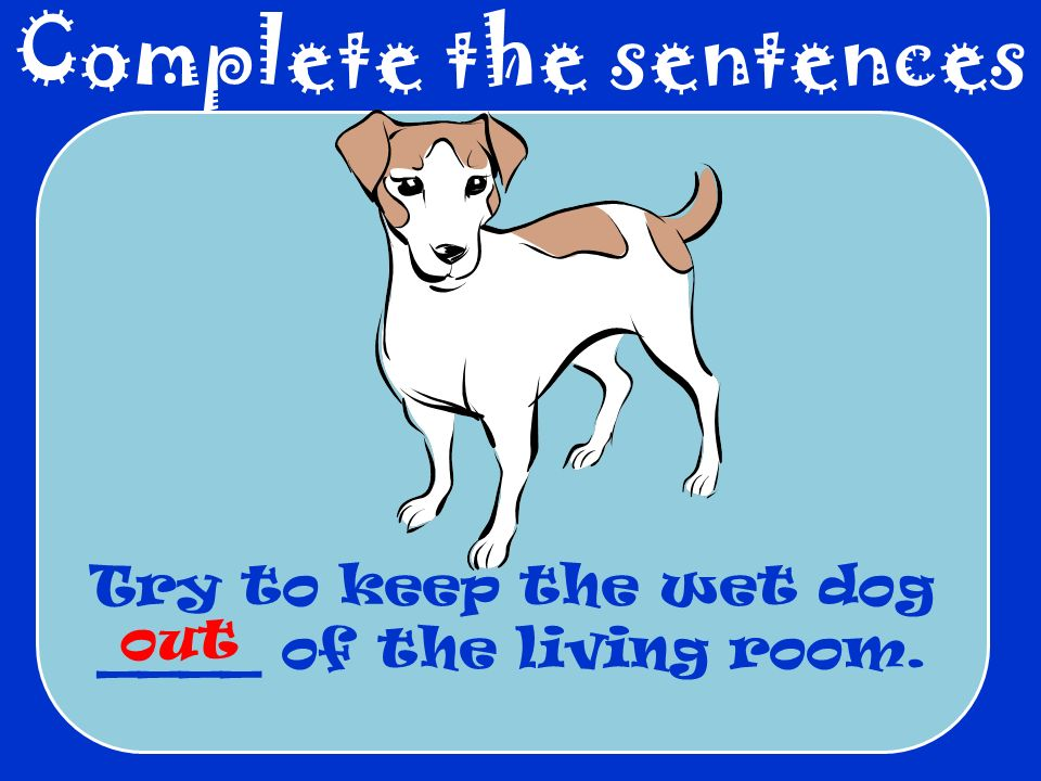 Complete the sentences Try to keep the wet dog ____ of the living room. out