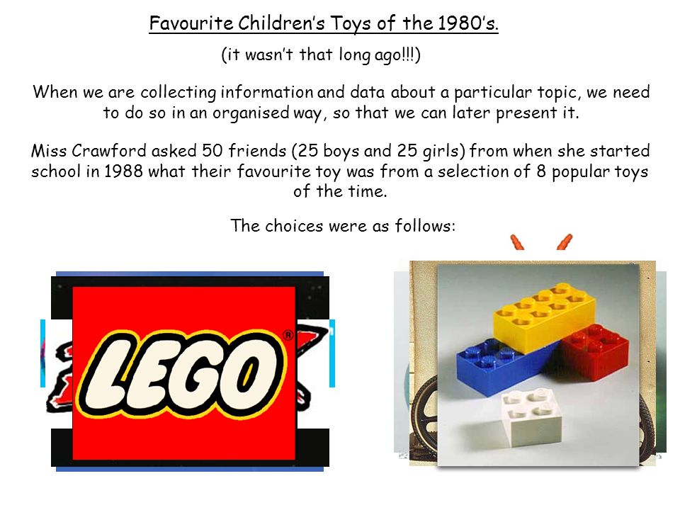 Miss Crawford asked 50 friends (25 boys and 25 girls) from when she started school in 1988 what their favourite toy was from a selection of 8 popular toys of the time.