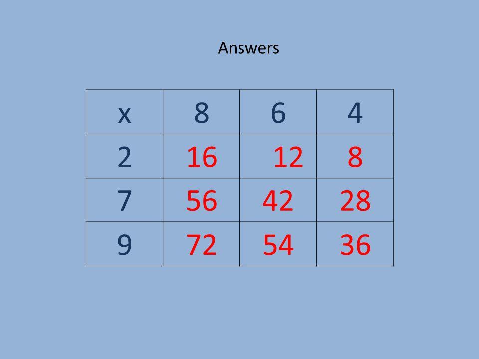 Answers x864 216 128 7564228 9725436