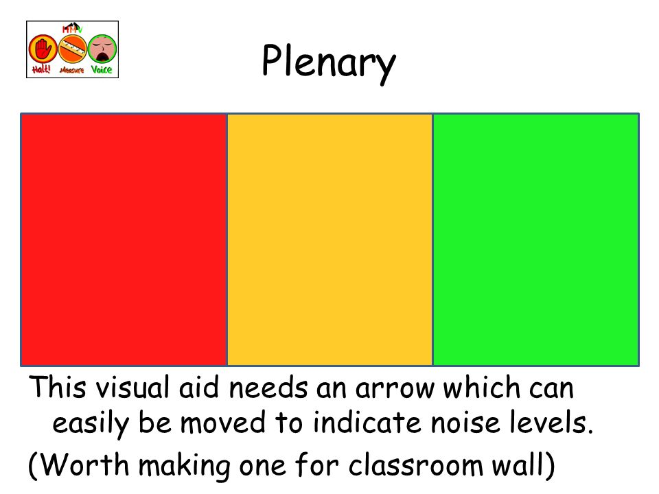Plenary This visual aid needs an arrow which can easily be moved to indicate noise levels.