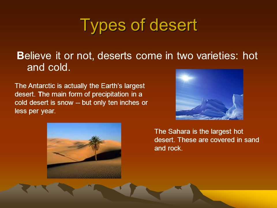 Types of desert Believe it or not, deserts come in two varieties: hot and cold. The Antarctic is actually the Earths largest desert. The main form of