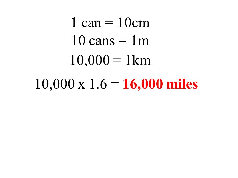 1 can = 10cm 10 cans = 1m 10,000 = 1km 10,000 x 1.6 = 16,000 miles