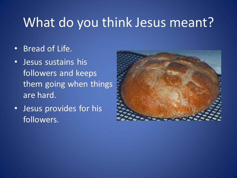 What do you think Jesus meant. Bread of Life.