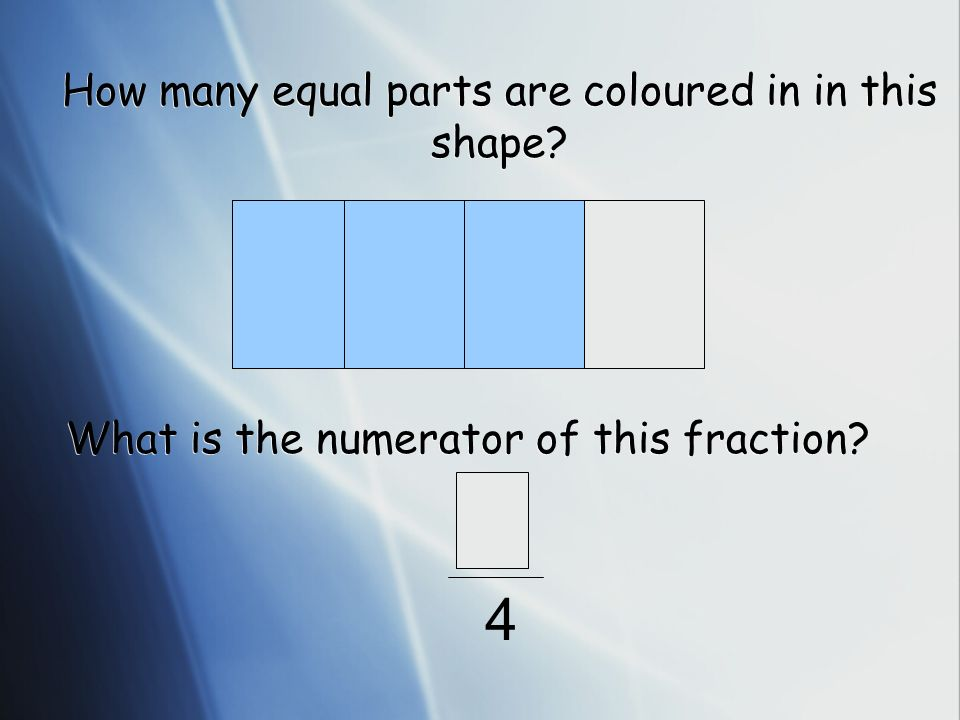 How many equal parts are coloured in in this shape? What is the numerator of this fraction? 4
