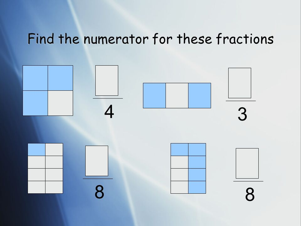 Find the numerator for these fractions 4 3 8 8