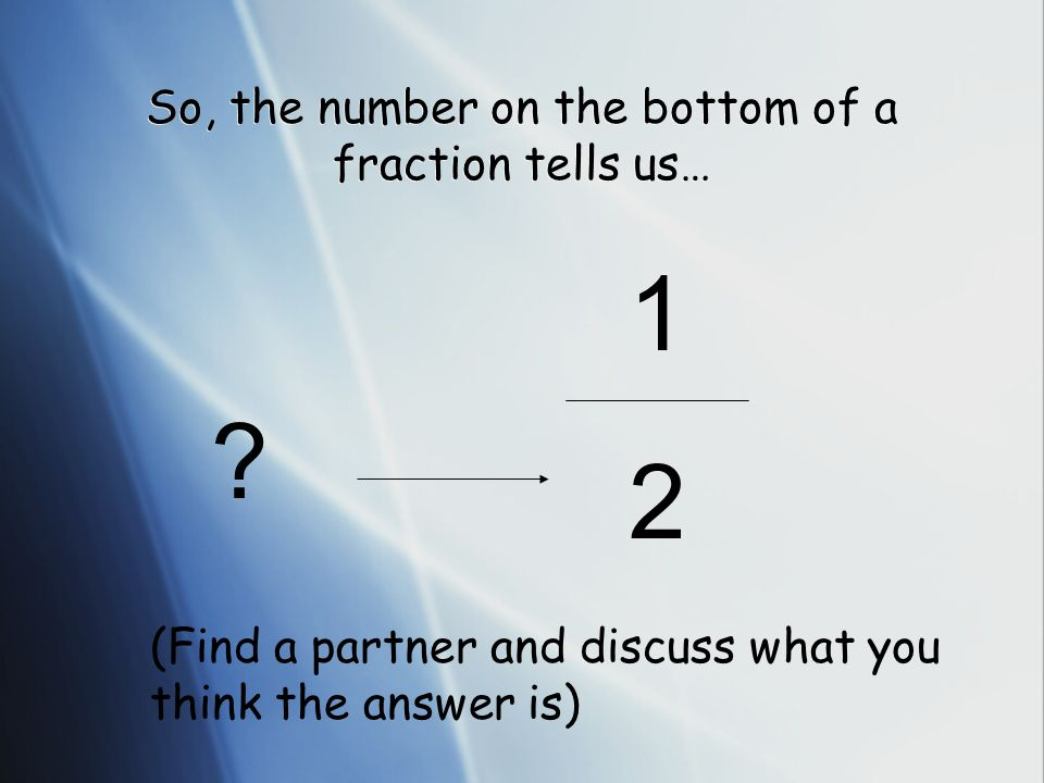 So, the number on the bottom of a fraction tells us… 1212 ? (Find a partner and discuss what you think the answer is)