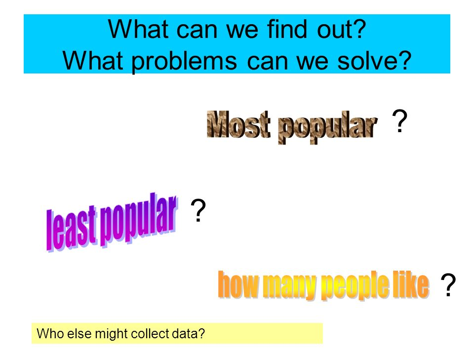 What can we find out? What problems can we solve? ? ? ? Who else might collect data?