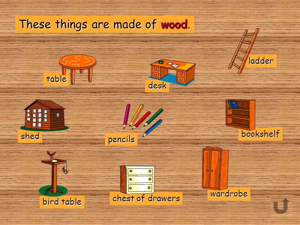bookshelf desk ladder Which of these things are made of wood? pencils radiator invitation rucksack table walkman nails