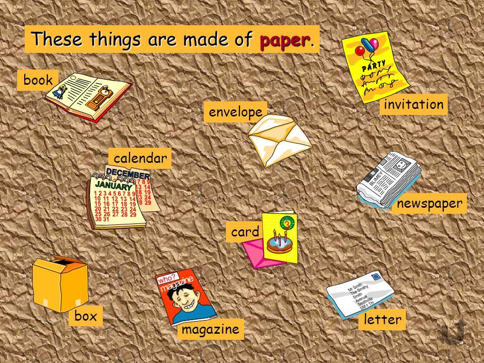 Which of these things are made of paper? book card radiator magazine trouser envelope calendar pyjamas kitchen bin ladder