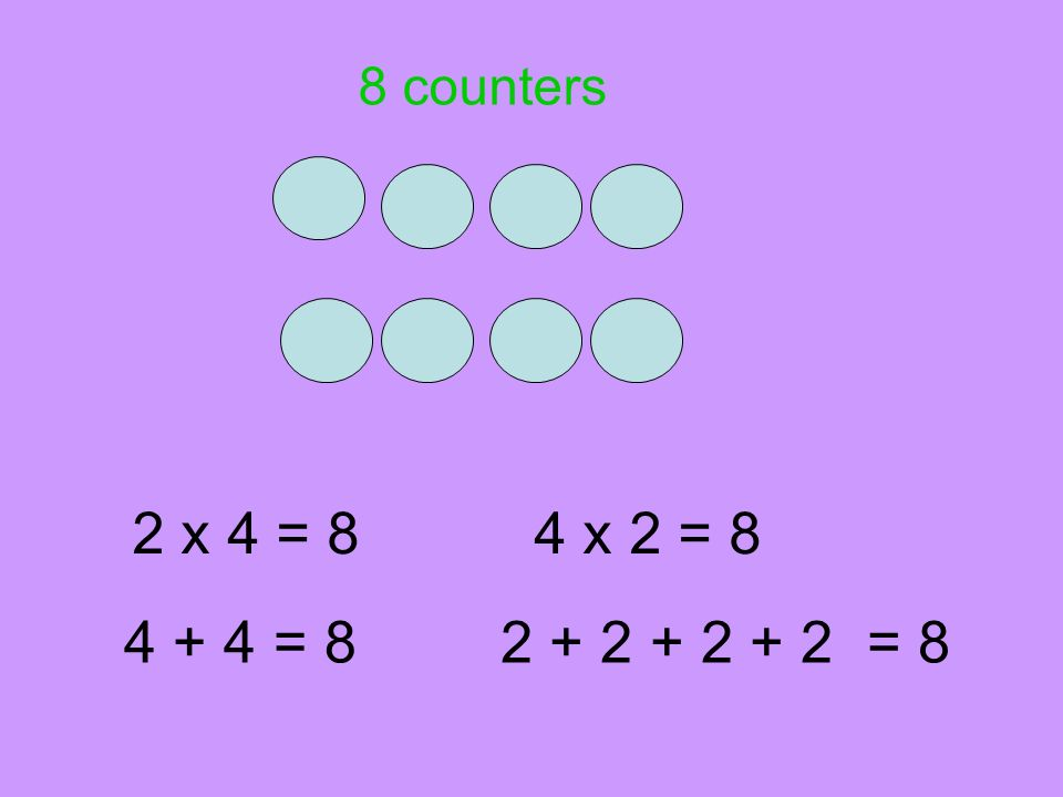 2 x 4 = 84 x 2 = 8 4 + 4 = 82 + 2 + 2 + 2 = 8 8 counters