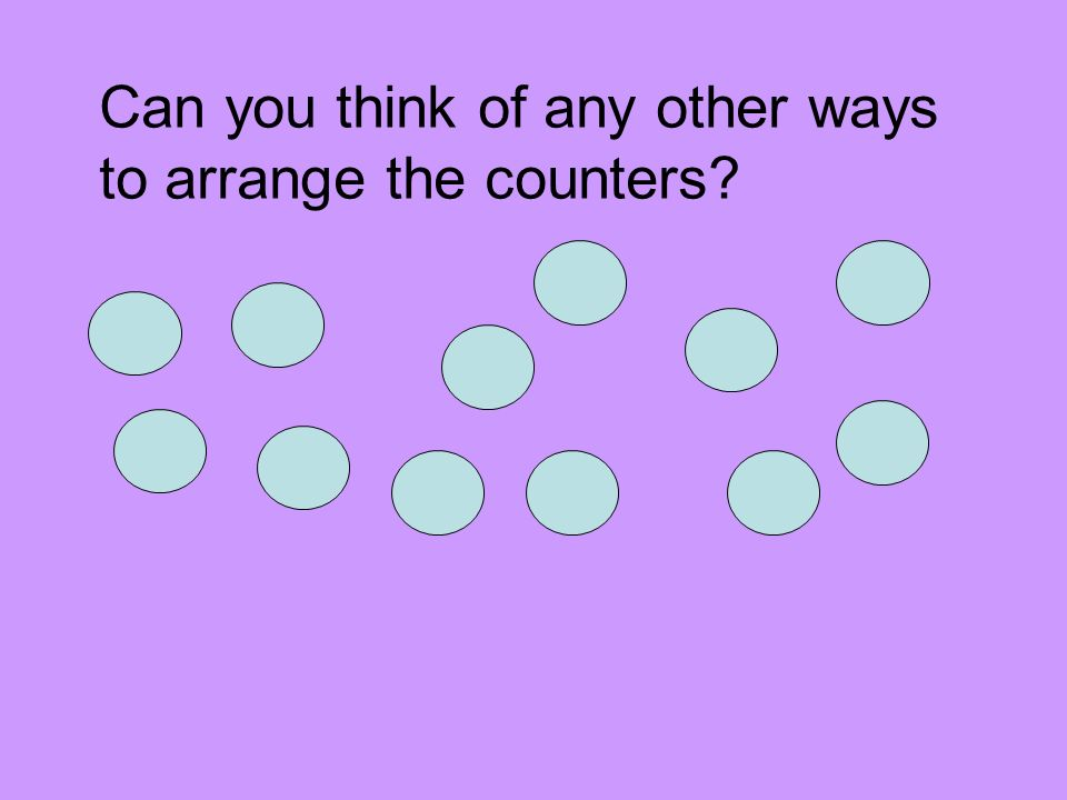 Can you think of any other ways to arrange the counters?