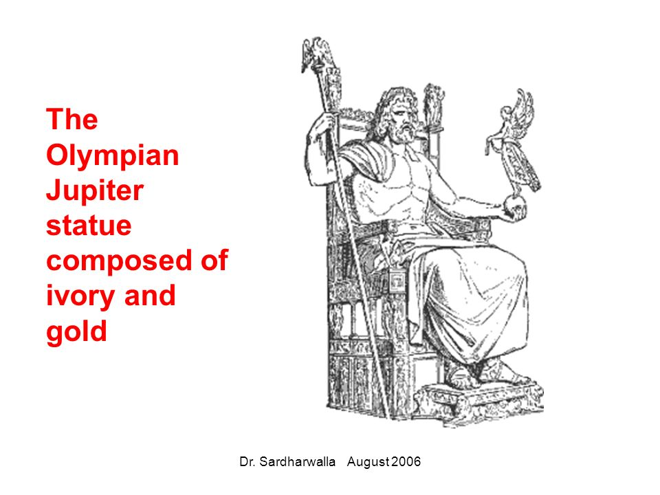 The Olympian Jupiter statue composed of ivory and gold