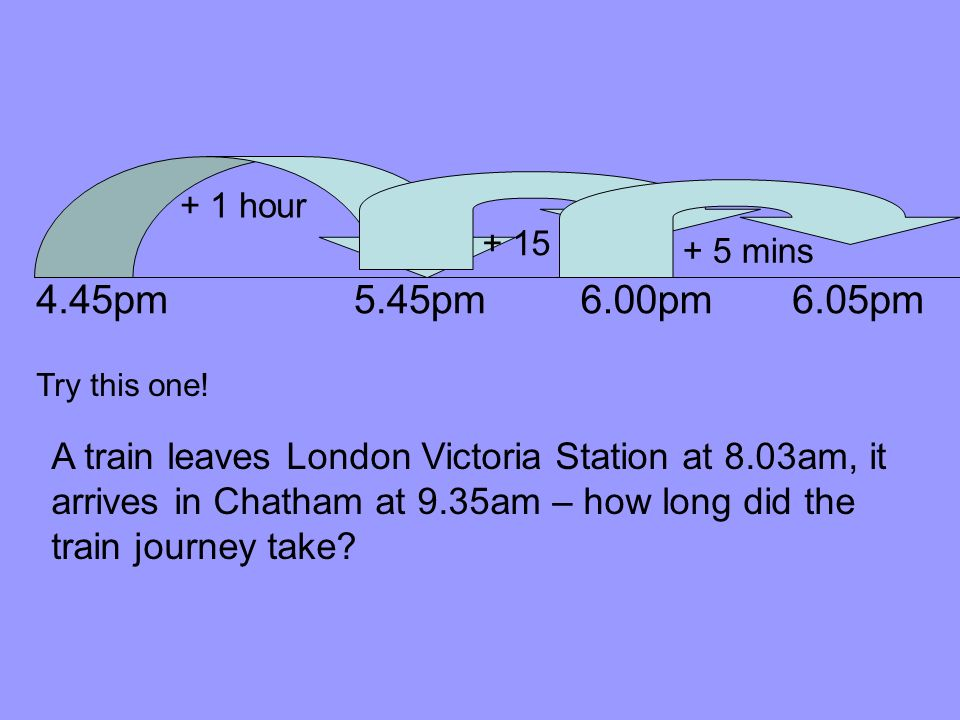 You could have used a time line… 7.30am 8.00am + 30 mins 8.07am + 7 mins Use a time line to help you solve this problem: My dad is going to pick me up from the cinema after the film has finished.