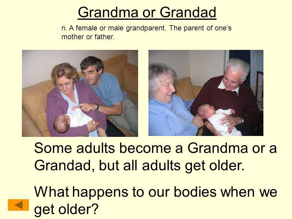 Grandma or Grandad n. A female or male grandparent. The parent of ones mother or father. Some adults become a Grandma or a Grandad, but all adults get