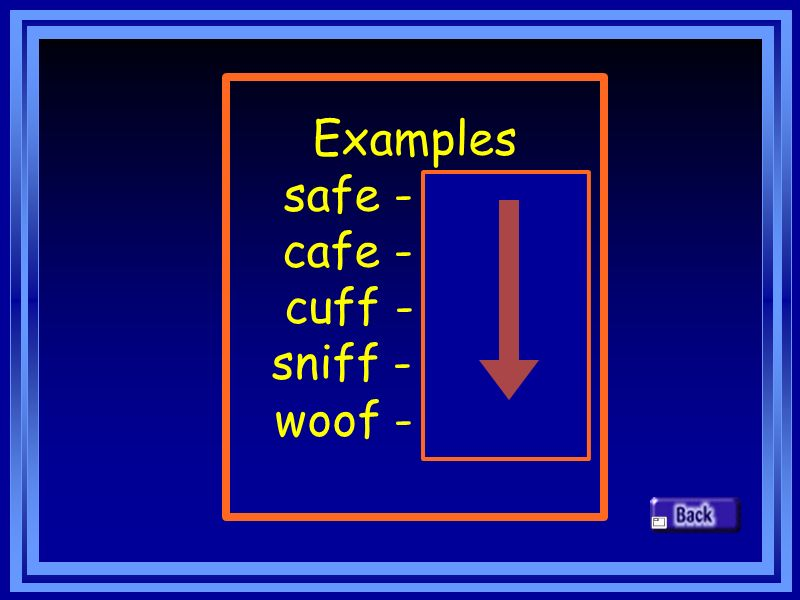 Examples safe - safes cafe - cafes cuff - cuffs sniff - sniffs woof - woofs