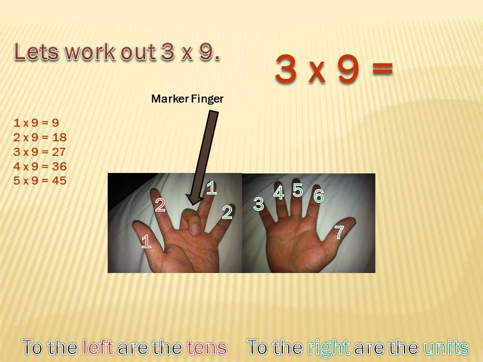 Marker Finger 3 x 9 = 1 x 9 = 9 2 x 9 = 18 3 x 9 = 27 4 x 9 = 36 5 x 9 = 45
