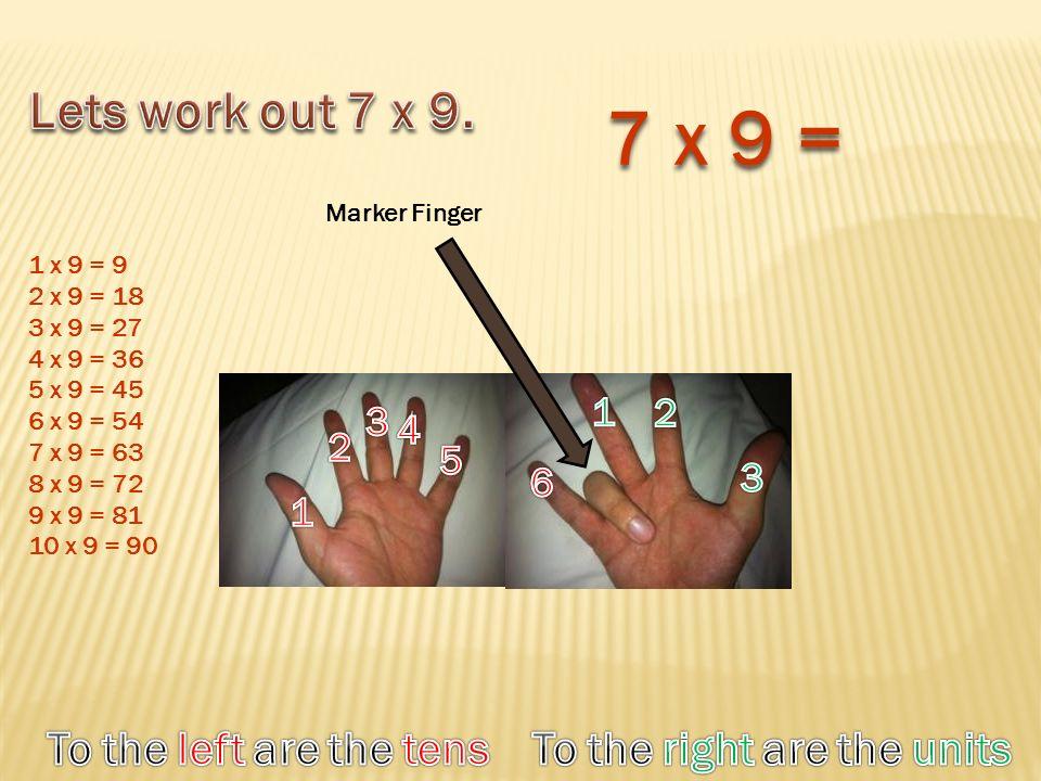 Marker Finger 7 x 9 = 1 x 9 = 9 2 x 9 = 18 3 x 9 = 27 4 x 9 = 36 5 x 9 = 45 6 x 9 = 54 7 x 9 = 63 8 x 9 = 72 9 x 9 = 81 10 x 9 = 90