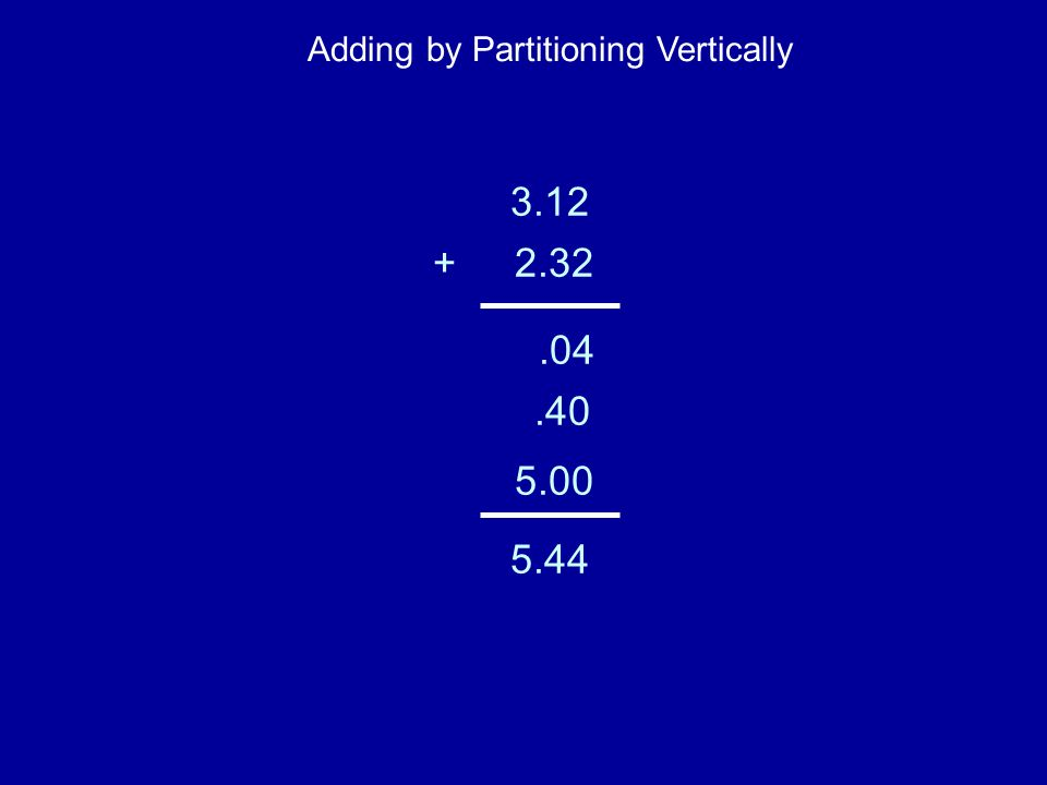 3.12 +2.32.04.40 5.00 5.44 Adding by Partitioning Vertically