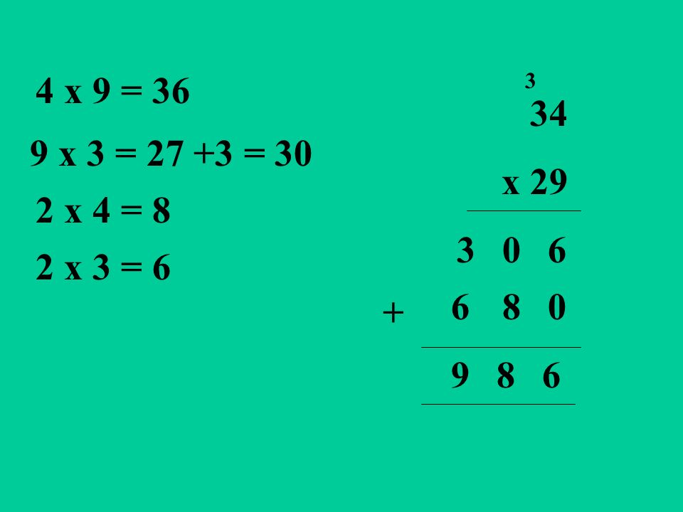 34 x 29 6 3 4 x 9 = 36 9 x 3 = 27 +3 = 30 2 x 3 = 6 2 x 4 = 8 0 80 3 6 + 689