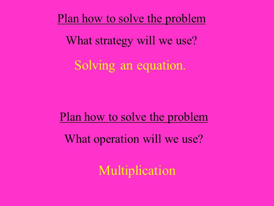 Plan how to solve the problem What strategy will we use.