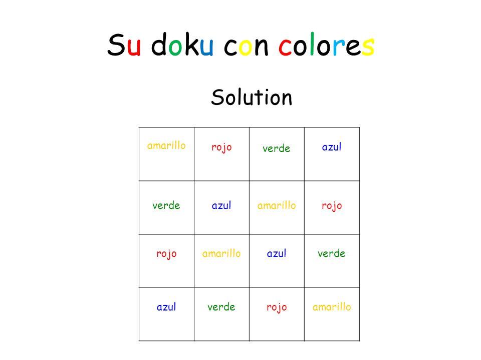 Su doku con colores Solution amarillo rojo verde azul verde azul amarillo rojo rojo amarillo azul verde azul verde rojo amarillo