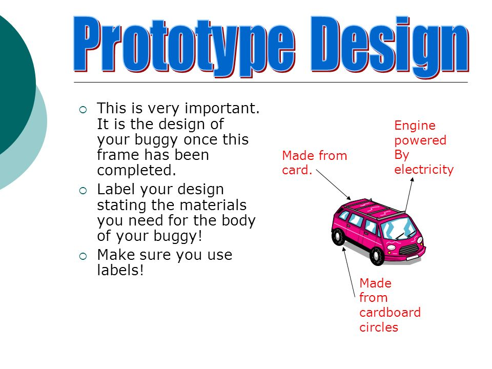 This is very important. It is the design of your buggy once this frame has been completed. Label your design stating the materials you need for the bo