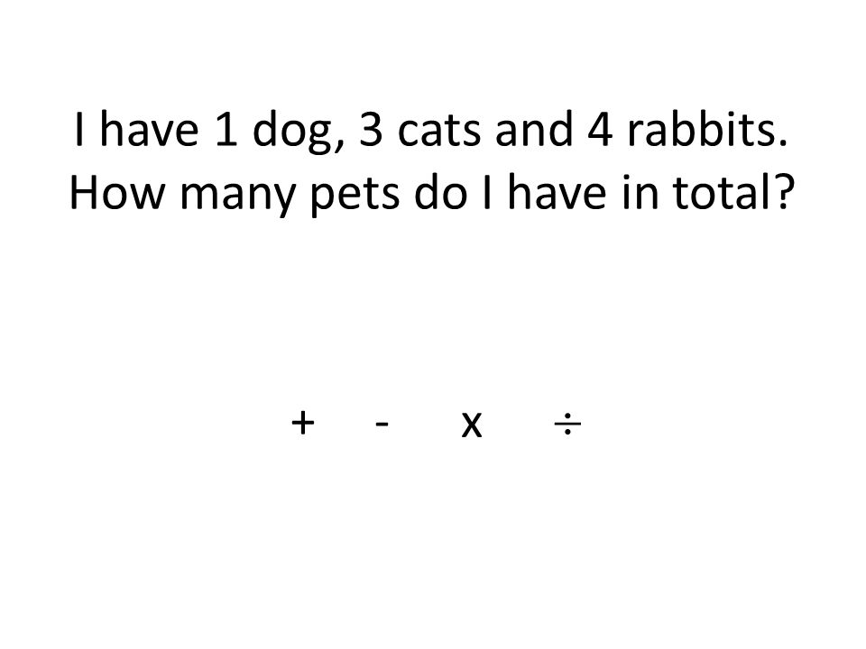 I have 1 dog, 3 cats and 4 rabbits. How many pets do I have in total + - x