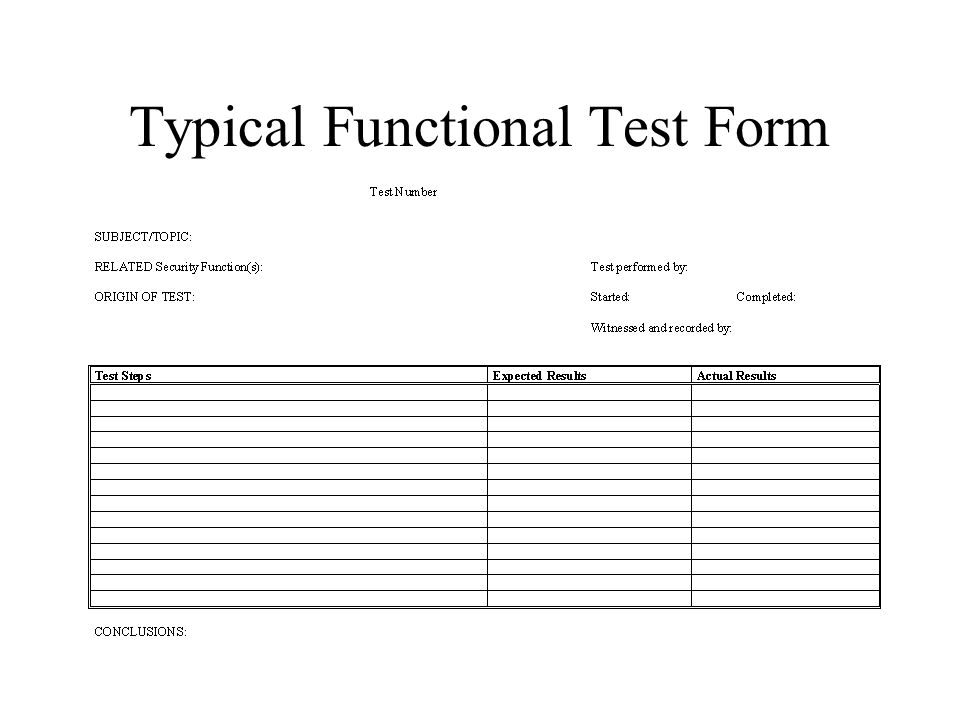 Typical Functional Test Form