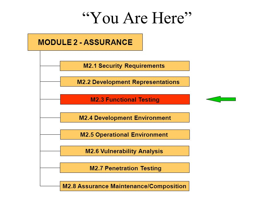 You Are Here M2.1 Security Requirements M2.2 Development Representations M2.3 Functional Testing M2.4 Development Environment M2.5 Operational Environment M2.6 Vulnerability Analysis M2.7 Penetration Testing M2.8 Assurance Maintenance/Composition MODULE 2 - ASSURANCE