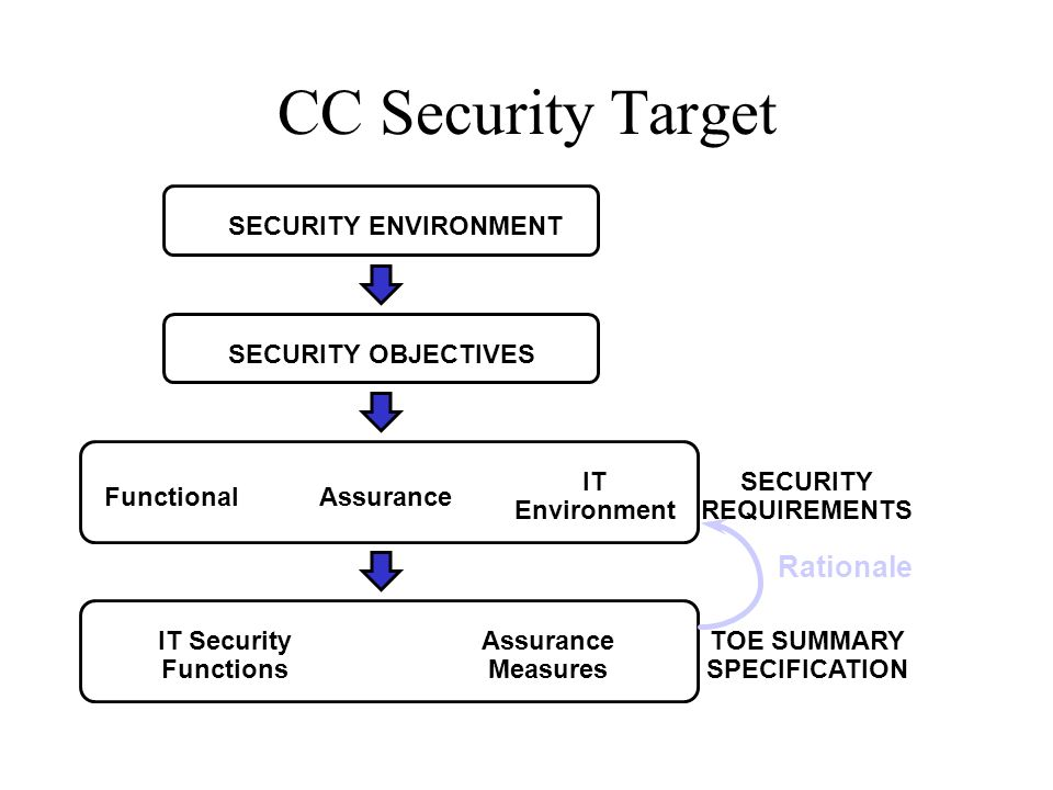 CC Security Target SECURITY REQUIREMENTS FunctionalAssurance IT Environment TOE SUMMARY SPECIFICATION IT Security Functions Assurance Measures SECURIT