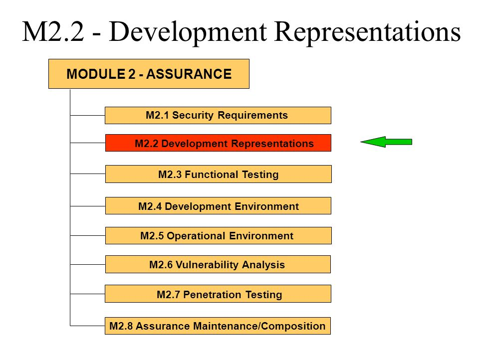 M2.2 - Development Representations M2.1 Security Requirements M2.2 Development Representations M2.3 Functional Testing M2.4 Development Environment M2