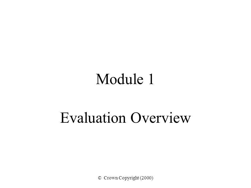© Crown Copyright (2000) Module 1 Evaluation Overview