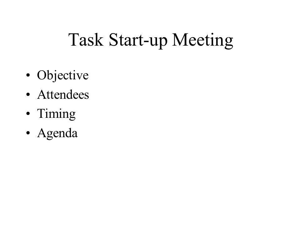 Task Start-up Meeting Objective Attendees Timing Agenda