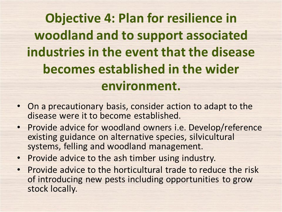 Objective 4: Plan for resilience in woodland and to support associated industries in the event that the disease becomes established in the wider environment.