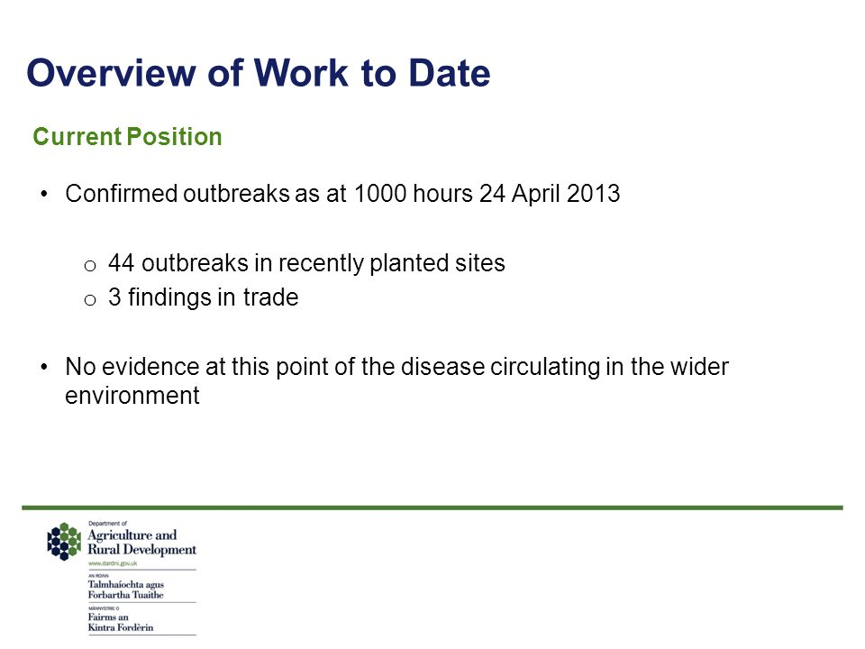 Overview of Work to Date Current Position Confirmed outbreaks as at 1000 hours 24 April 2013 o 44 outbreaks in recently planted sites o 3 findings in
