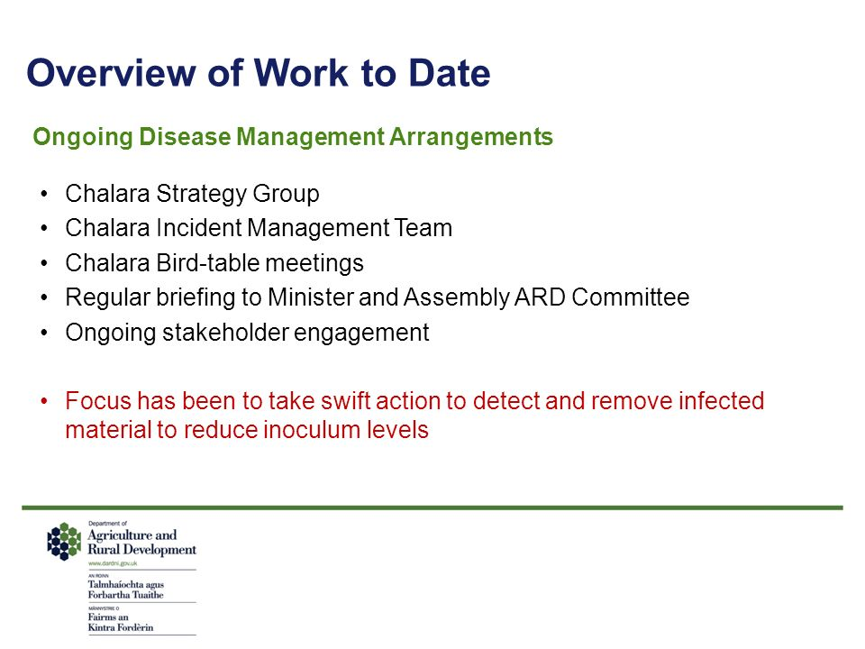 Overview of Work to Date Ongoing Disease Management Arrangements Chalara Strategy Group Chalara Incident Management Team Chalara Bird-table meetings Regular briefing to Minister and Assembly ARD Committee Ongoing stakeholder engagement Focus has been to take swift action to detect and remove infected material to reduce inoculum levels