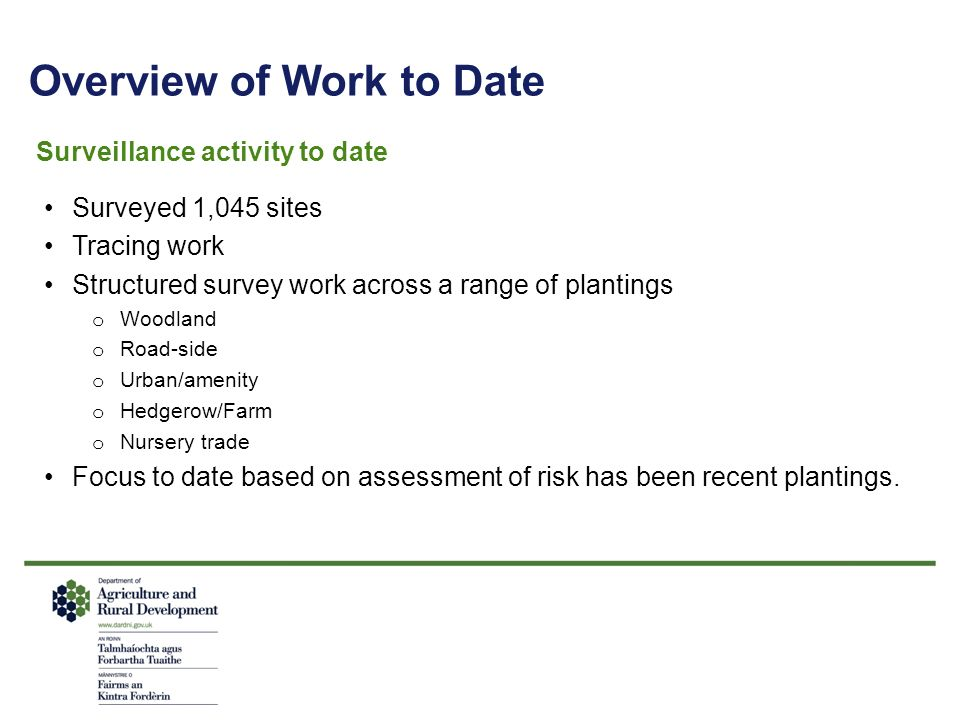 Overview of Work to Date Surveillance activity to date Surveyed 1,045 sites Tracing work Structured survey work across a range of plantings o Woodland o Road-side o Urban/amenity o Hedgerow/Farm o Nursery trade Focus to date based on assessment of risk has been recent plantings.