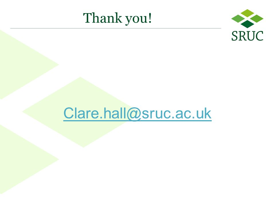 24 Thank you! Clare.hall@sruc.ac.uk