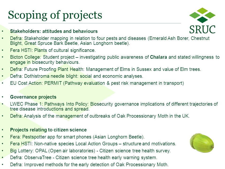 6 Scoping of projects Stakeholders: attitudes and behaviours Defra: Stakeholder mapping in relation to four pests and diseases (Emerald Ash Borer, Chestnut Blight, Great Spruce Bark Beetle, Asian Longhorn beetle).