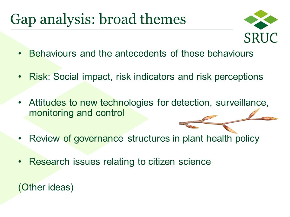 7 Gap analysis: broad themes Behaviours and the antecedents of those behaviours Risk: Social impact, risk indicators and risk perceptions Attitudes to new technologies for detection, surveillance, monitoring and control Review of governance structures in plant health policy Research issues relating to citizen science (Other ideas)