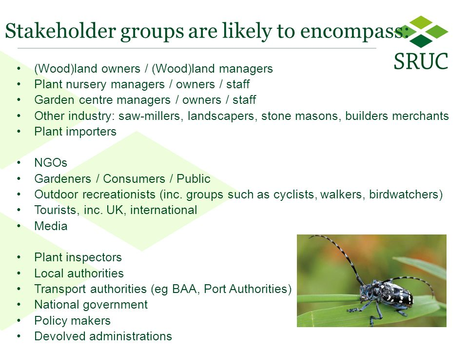 9 Stakeholder groups are likely to encompass: (Wood)land owners / (Wood)land managers Plant nursery managers / owners / staff Garden centre managers / owners / staff Other industry: saw-millers, landscapers, stone masons, builders merchants Plant importers NGOs Gardeners / Consumers / Public Outdoor recreationists (inc.