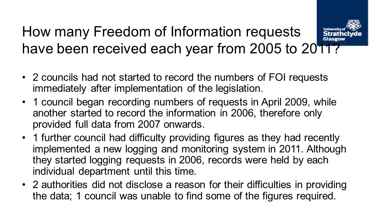 How many Freedom of Information requests have been received each year from 2005 to 2011? 2 councils had not started to record the numbers of FOI reque