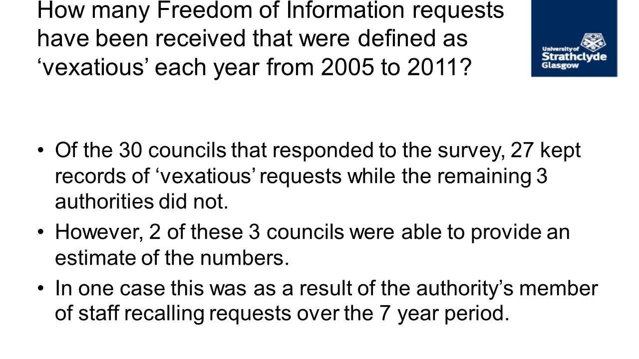How many Freedom of Information requests have been received that were defined as vexatious each year from 2005 to 2011? Of the 30 councils that respon