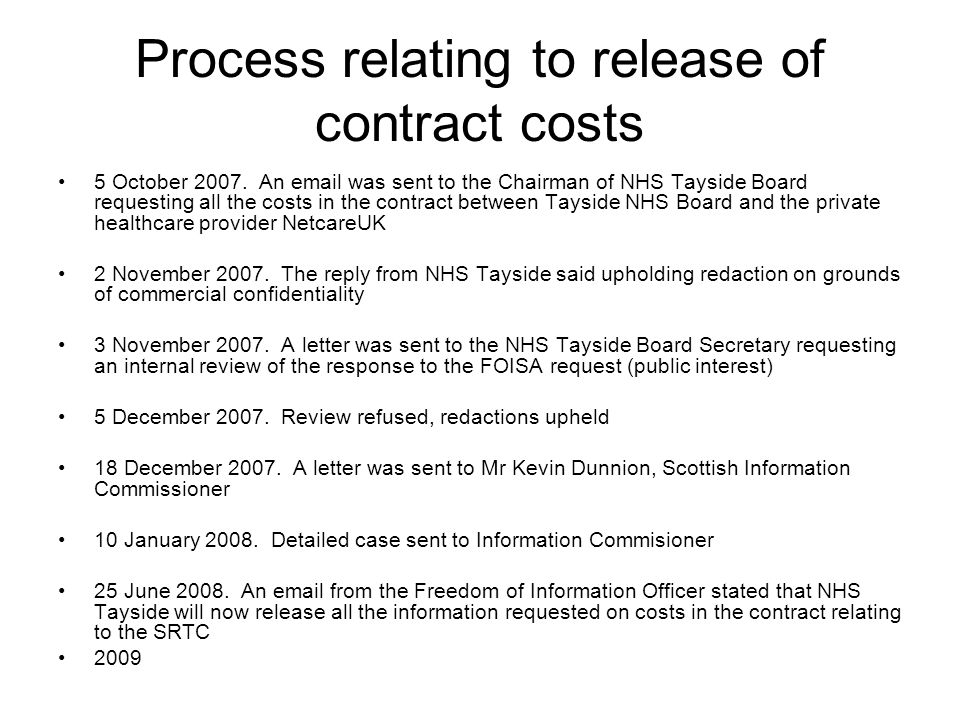 Process relating to release of contract costs 5 October 2007.