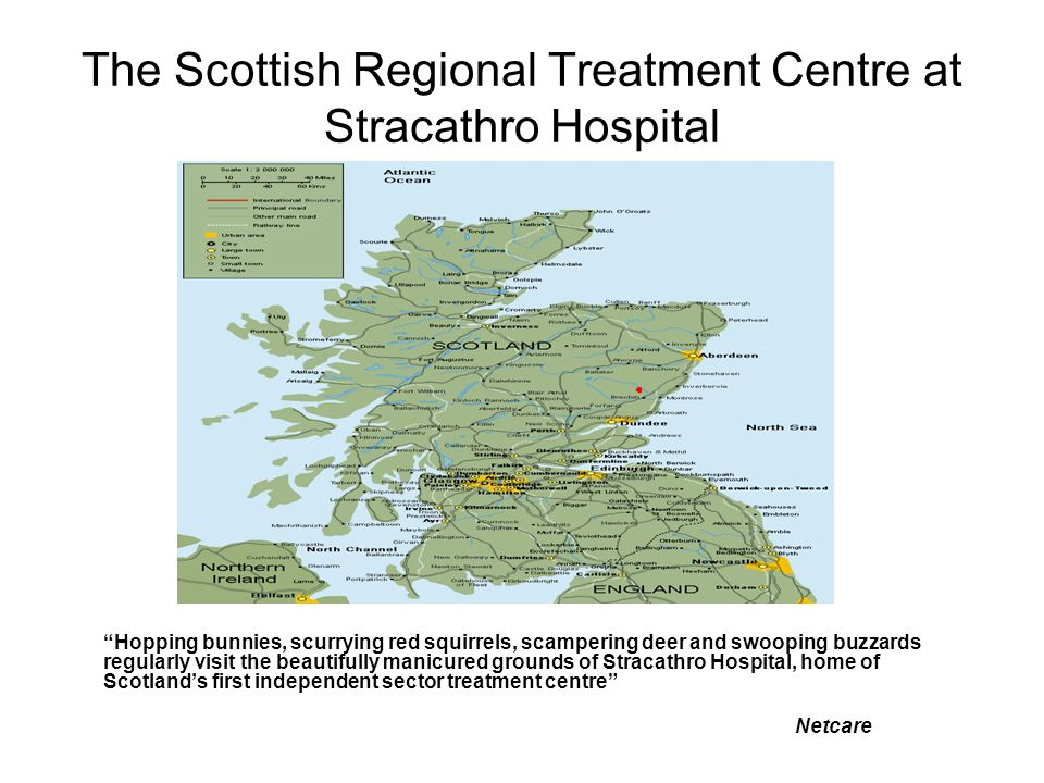 The Scottish Regional Treatment Centre at Stracathro Hospital Hopping bunnies, scurrying red squirrels, scampering deer and swooping buzzards regularly visit the beautifully manicured grounds of Stracathro Hospital, home of Scotlands first independent sector treatment centre Netcare