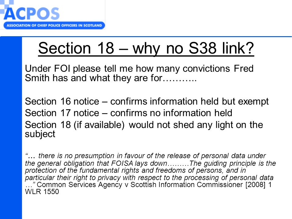 Section 18 – why no S38 link.